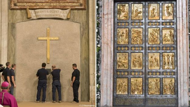 Workers had to reveal the Holy Door of St Peters Basilica, which had been behind a brick wall