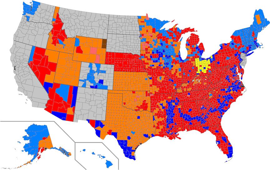 Red - Trump; light red - Rubio; orange - Cruz; yellow - Kasich. Dark blue - Clinton; light blue - Sanders.