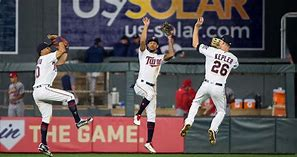 Twins outfielders celebrate another win