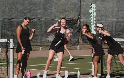 Why not join Holy Family Tennis? Briar Charchenko '22, Lauren Hickey '20, Lauren Taylor '21, and Morgan Hausback '20