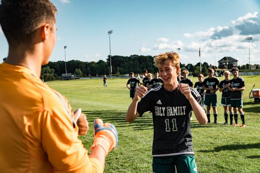 Holy Family Boys Varsity Soccer vs Fargo Shanley 8/6/19: Bishop Schugel (11) '21