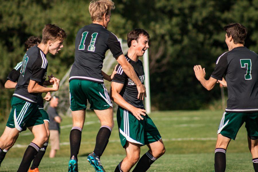 Holy Family Boys Varsity Soccer vs Fargo Shanley 8/6/19: Casey Gess (3) '20 Finn Dowling (7) '21 Bishop Schugel (11) '21 Senior Captain Bennett Creager (10) '20