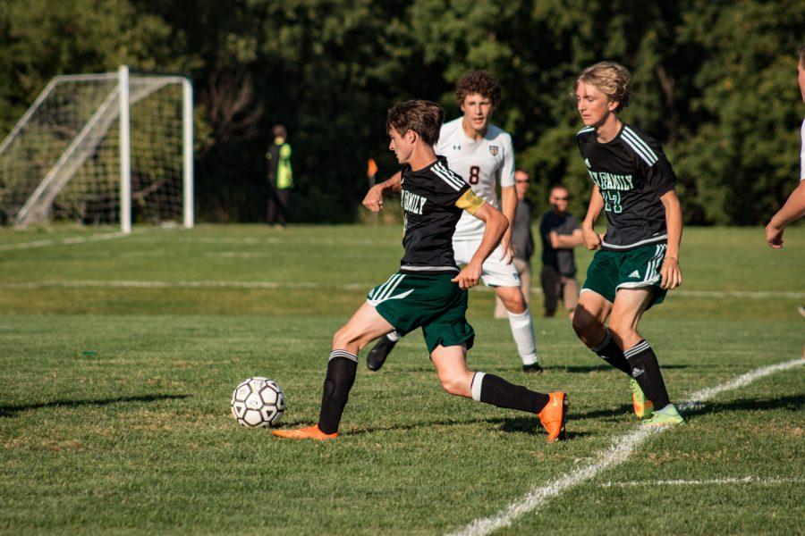 Holy Family Boys Varsity Soccer vs Fargo Shanley 8/6/19: Senior Captain Dan Parker (9) '20