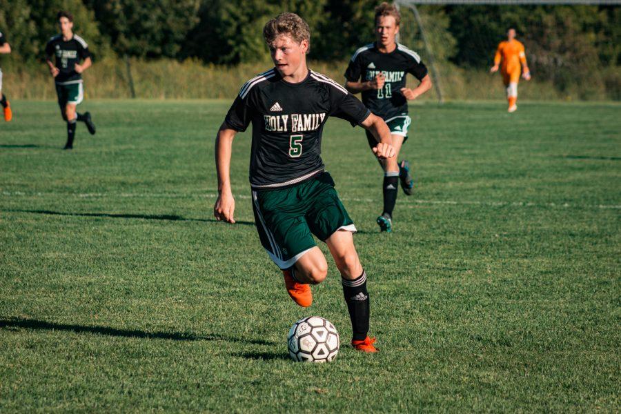 Holy Family Boys Varsity Soccer vs Fargo Shanley 8/6/19: Ryder Ferguson (5) '22