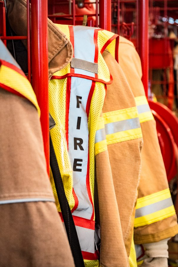 Firefighters use bunker gear to keep them safe from harmful materials
