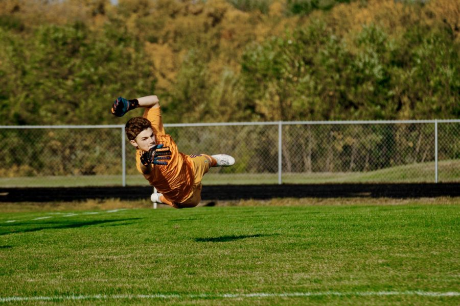 Holy Familys Goalie Dylan Ehlers 22 (1) during a matchup against Waconia High School -Arden Schlegel-The Phoenix