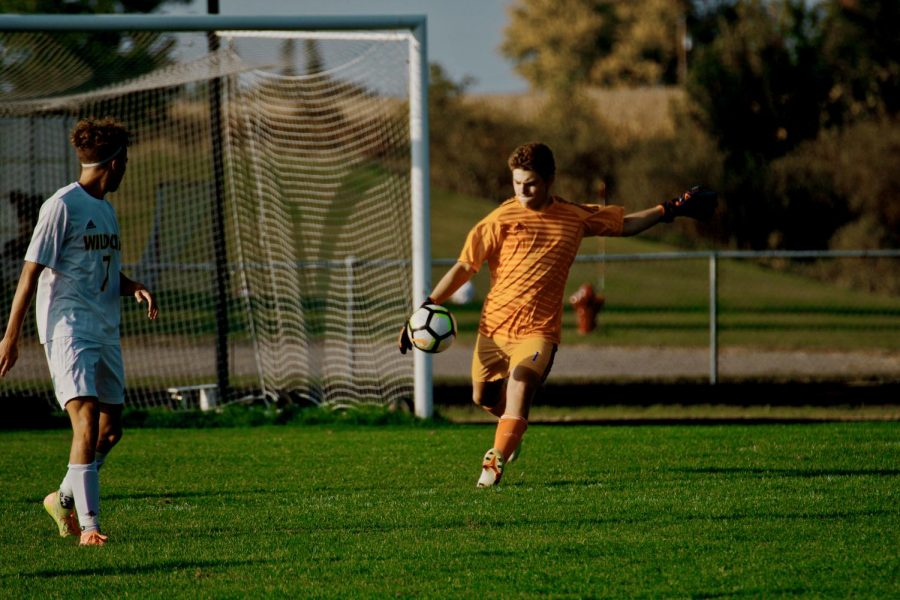 Holy Family's Goalie Dylan Ehlers '22 (1) during a matchup against Waconia High School -Arden Schlegel-The Phoenix