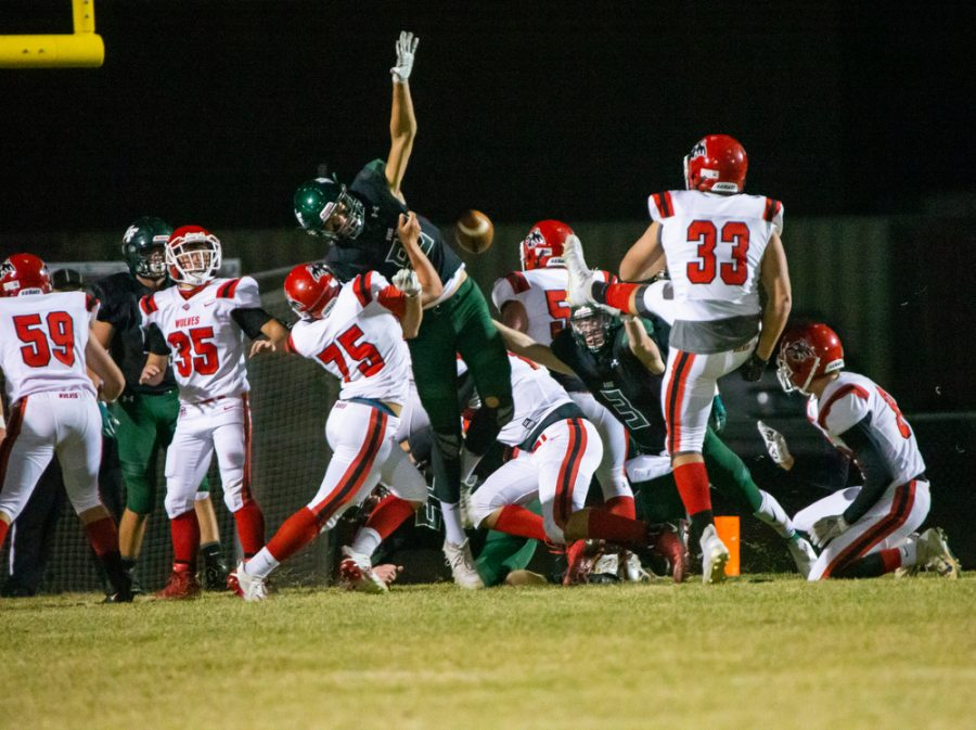 Holy Family's Boden Kapke '23 (83) during a football game where Holy Family fell to Milaca 28-0 on Friday, November 6, 2020 at Holy Family Catholic High School. Collin Nawrocki / The Phoenix