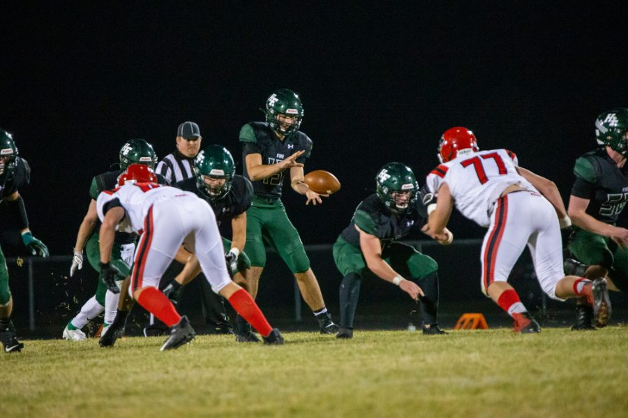 Holy Family's Jacob Kirsch '21 (13) during a football game where Holy Family fell to Milaca 28-0 on Friday, November 6, 2020 at Holy Family Catholic High School. Collin Nawrocki / The Phoenix