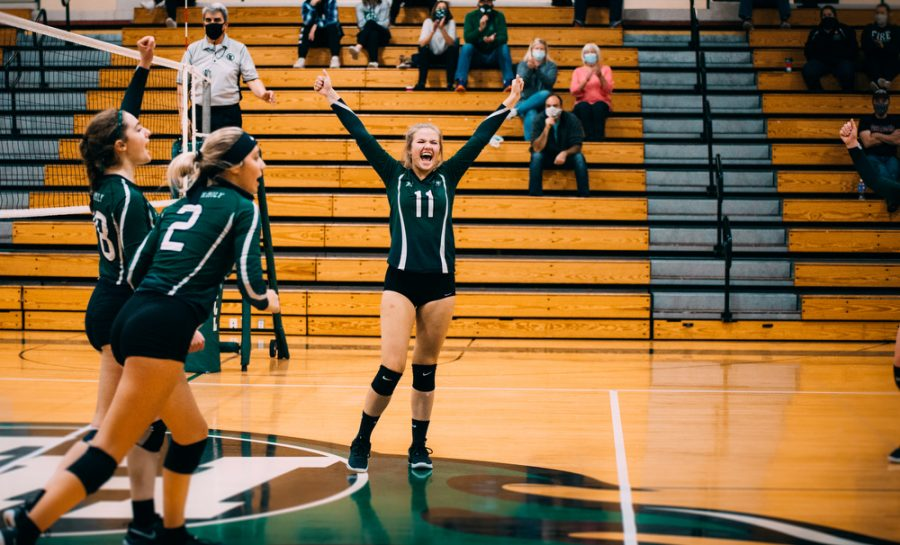 Holy Family's Tatum Hussey '22 (11) during a volleyball match where Holy Family fell to Waconia 3-0 on Thursday, November 6, 2020 at Holy Family Catholic High School. Collin Nawrocki / The Phoenix