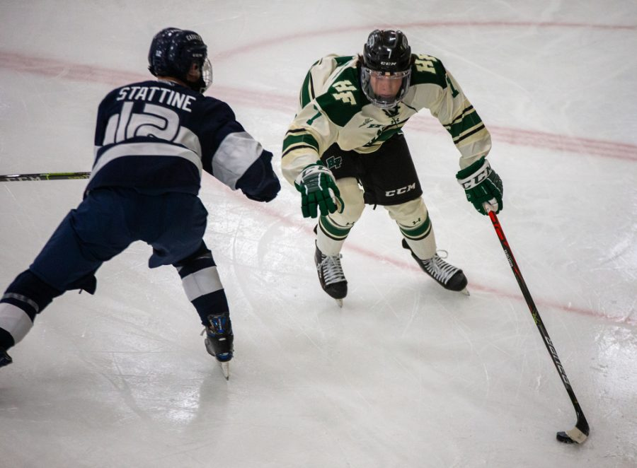 Holy Family's Jake Cameron 22 (7) during a hockey game versus Orono. The Fire lost the game 7-0 on Saturday, January 16, 2021 at Victoria Recreation Center