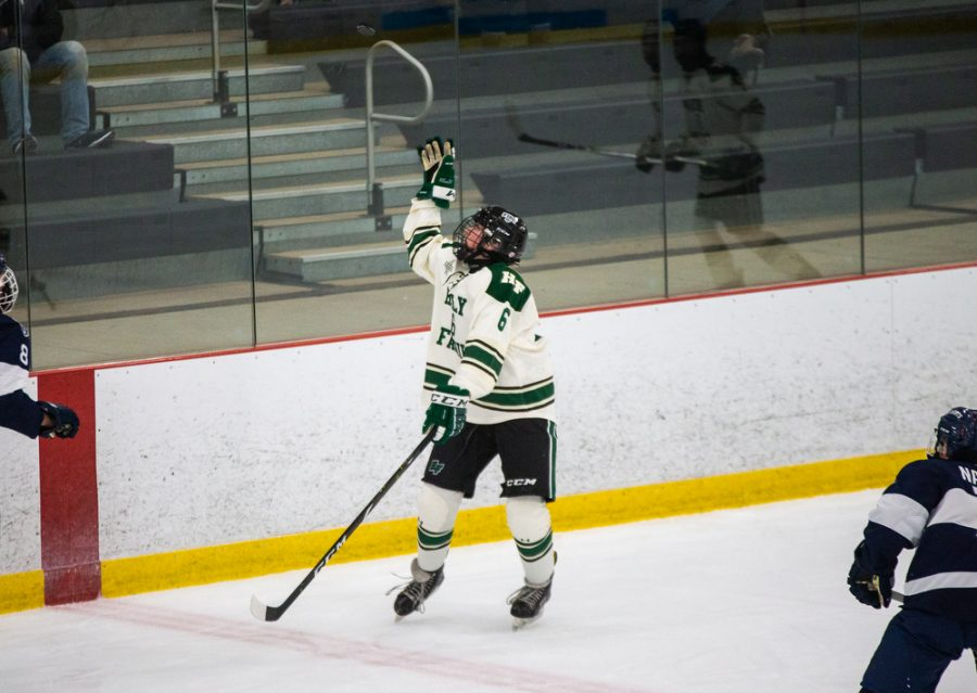Holy Family's Ben Reddan 21 (6) during a hockey game versus Orono. The Fire lost the game 7-0 on Saturday, January 16, 2021 at Victoria Recreation Center