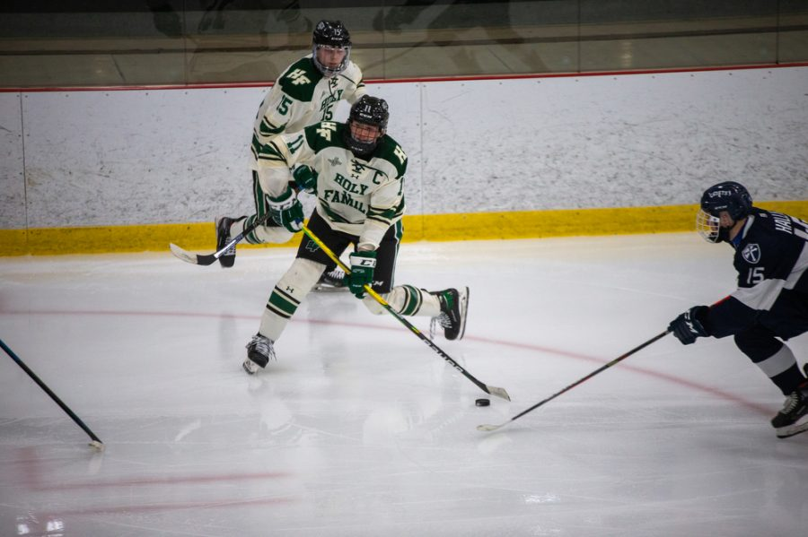 Holy Family's Luke Roelofs 21 (11) during a hockey game versus Orono. The Fire lost the game 7-0 on Saturday, January 16, 2021 at Victoria Recreation Center