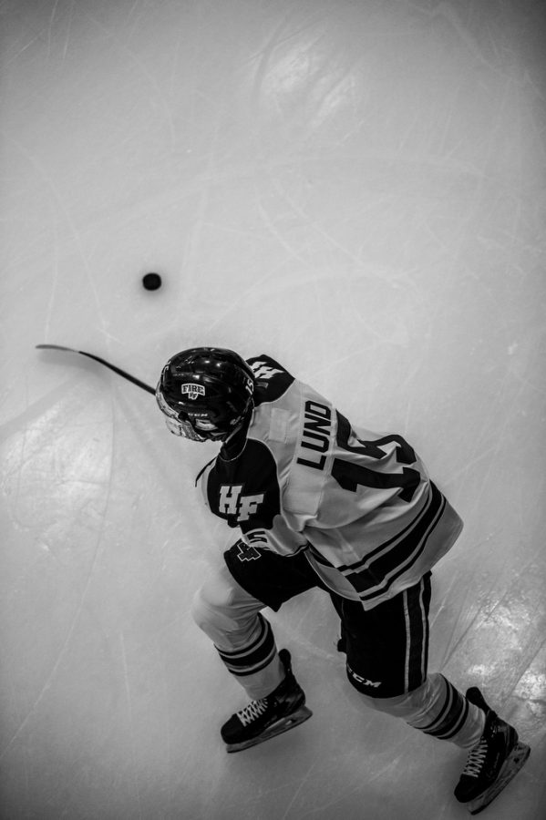 Holy Family's Marc Lund 21 (15) during a hockey game versus Orono. The Fire lost the game 7-0 on Saturday, January 16, 2021 at Victoria Recreation Center