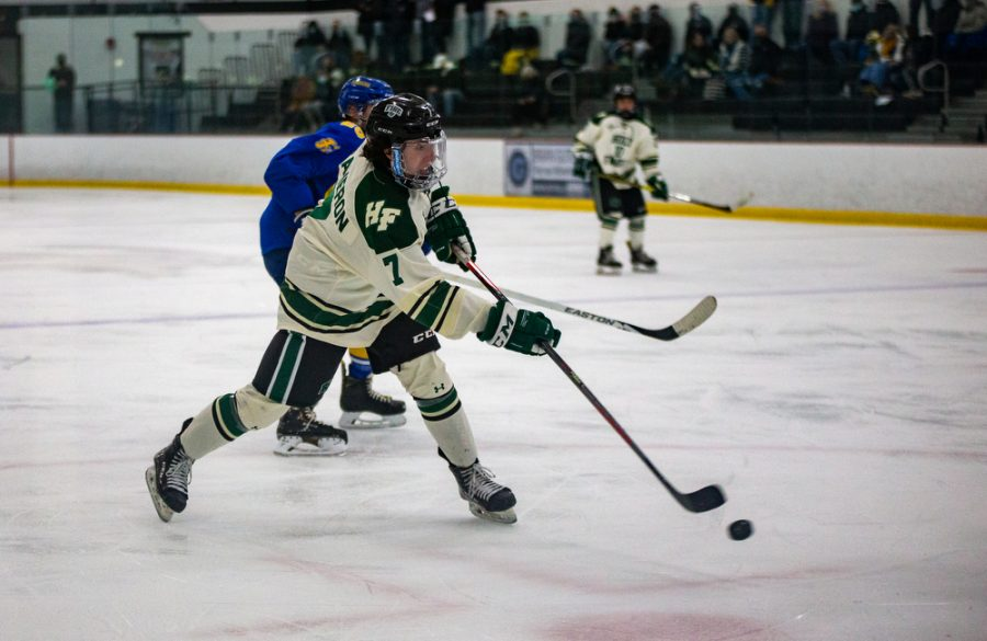 Holy Family's Jake Cameron '22 (7) during a hockey game versus Hastings. The Fire won the game in overtime 5-4 on Thursday, January 21, 2021 at Victoria Recreation Center