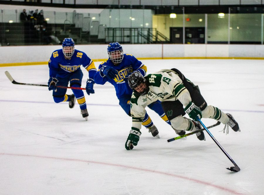 Holy Family's Nick Blood '22 (19) during a hockey game versus Hastings. The Fire won the game in overtime 5-4 on Thursday, January 21, 2021 at Victoria Recreation Center