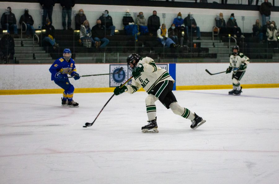 Holy Family's Ben Reddan '21 (6) during a hockey game versus Hastings. The Fire won the game in overtime 5-4 on Thursday, January 21, 2021 at Victoria Recreation Center