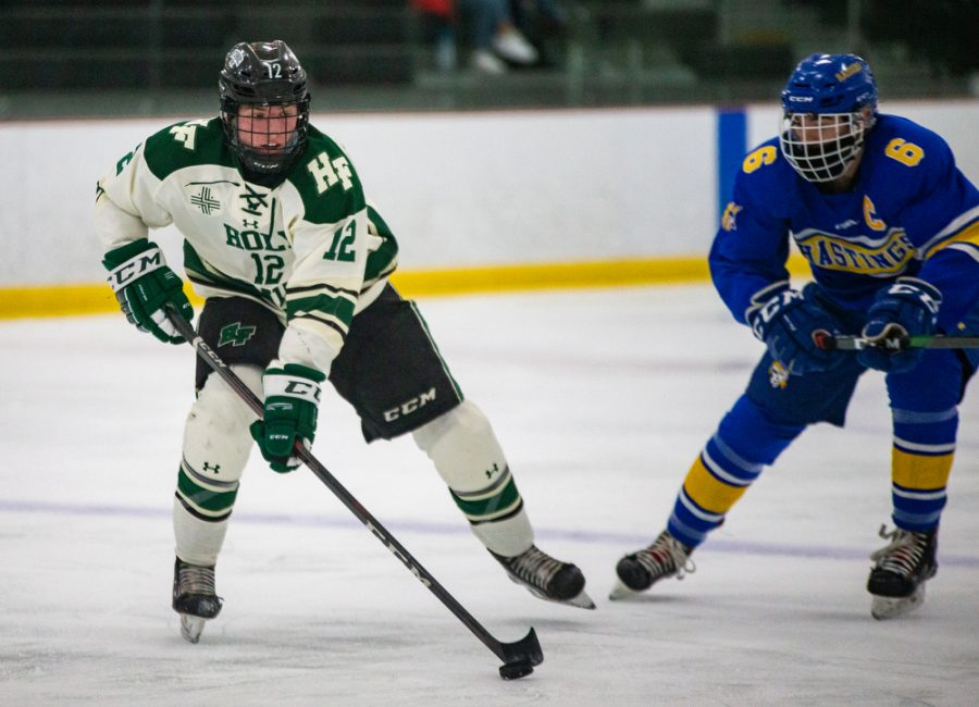 Holy Family's Jacob McPartland '21 (12) during a hockey game versus Hastings. The Fire won the game in overtime 5-4 on Thursday, January 21, 2021 at Victoria Recreation Center