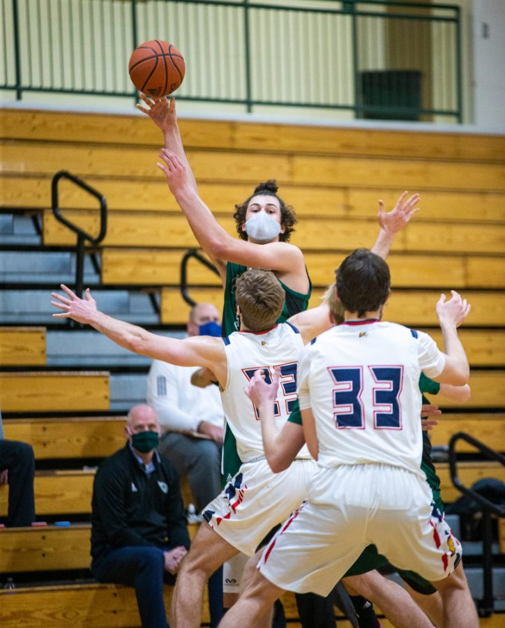 Holy Family's Boden Kapke '23 (33) during a basketball game versus Orono. The Fire lost the game 82-62 on Friday, January 29, 2021 at Holy Family Catholic High School.