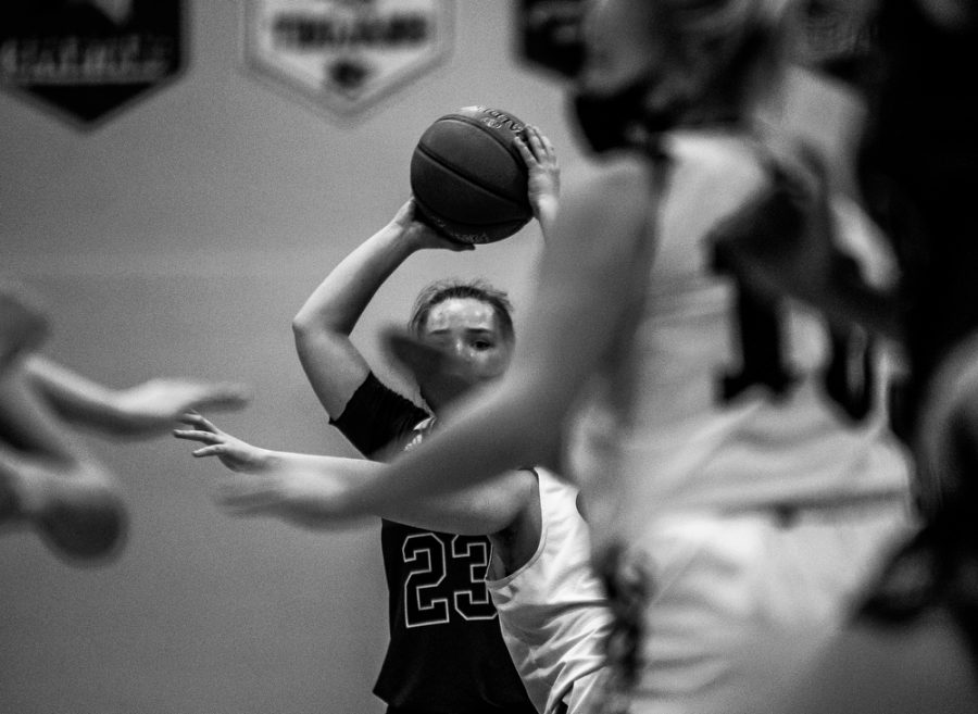 Holy Family's Nicole Bowlin '22 (23) during a basketball game versus Orono. The Fire lost the game 77-55 on Tuesday, January 26, 2021 at Holy Family Catholic High School.