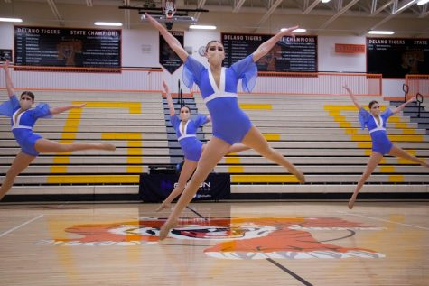 Holy Family Varsity Jazz Dancers during a Tri-Meet at Delano High School. Arden Schlegel-The Phoenix