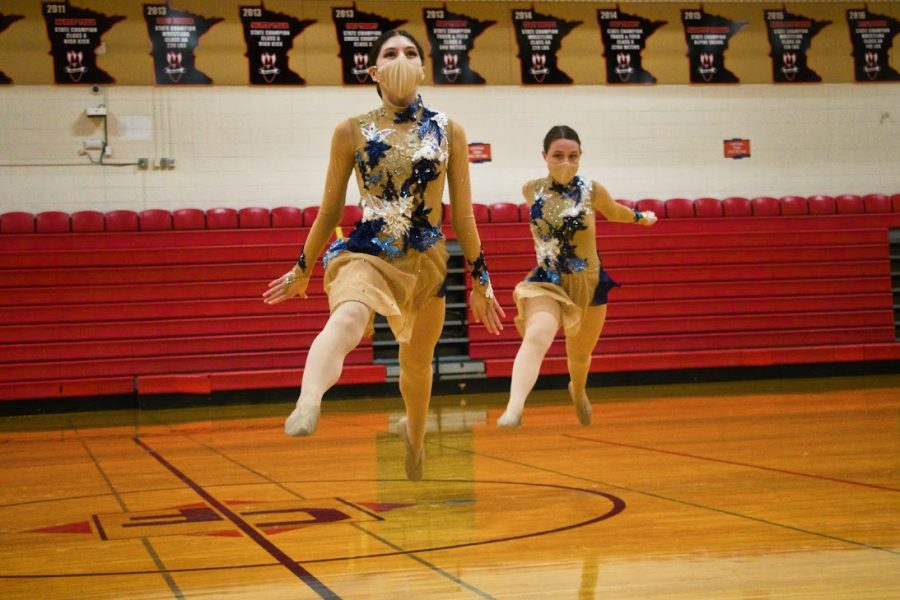 Holy Family Junior Varsity Jazz Dance Team during a competition at Cannon Falls High School. Arden Schlegel-The Phoenix