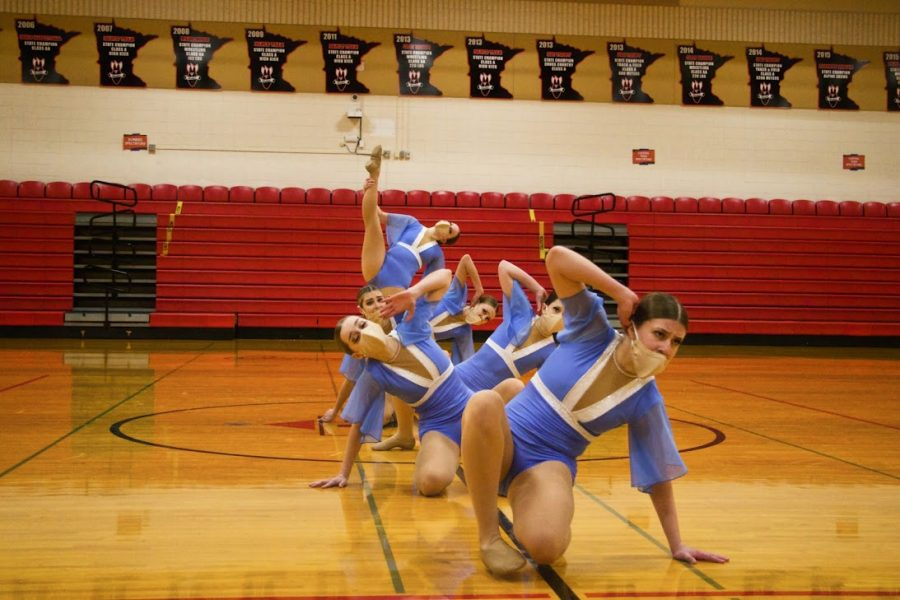 Holy Family Varsity Jazz Dance Team during a competition at Cannon Falls High School. Arden Schlegel-The Phoenix